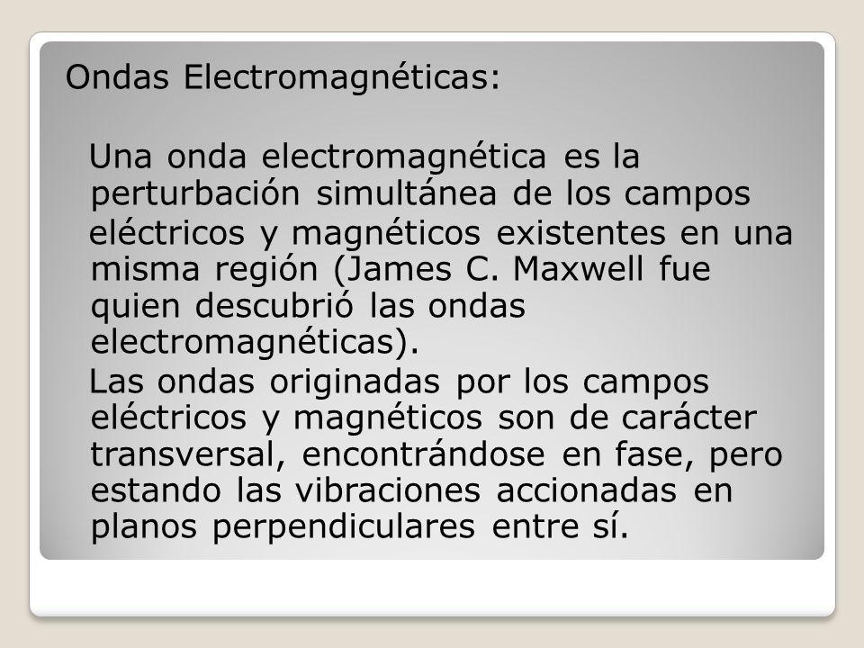 Ondas Electromagnéticas: Una onda electromagnética es la perturbación simultánea de los campos eléctricos y magnéticos existentes en una misma región