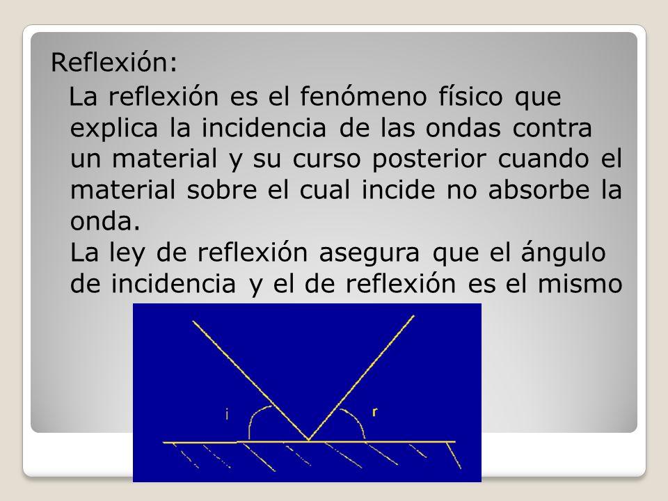 Reflexión: La reflexión es el fenómeno físico que explica la incidencia de las ondas contra un material y su curso posterior cuando el material sobre