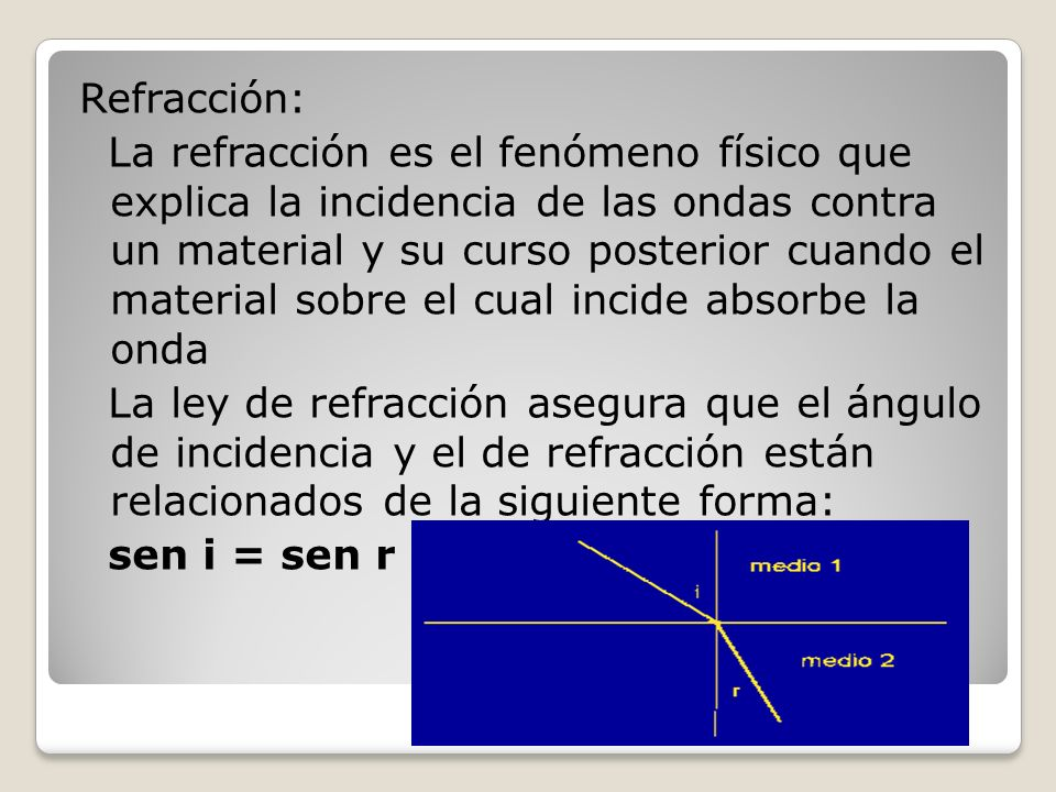 Refracción: La refracción es el fenómeno físico que explica la incidencia de las ondas contra un material y su curso posterior cuando el material sobr