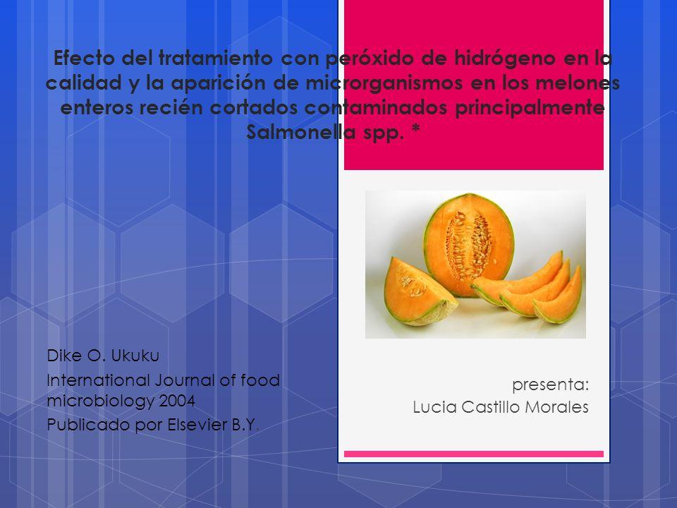 Efecto del tratamiento con peróxido de hidrógeno en la calidad y la aparición de microrganismos en los melones enteros recién cortados contaminados principalmente Salmonella spp.