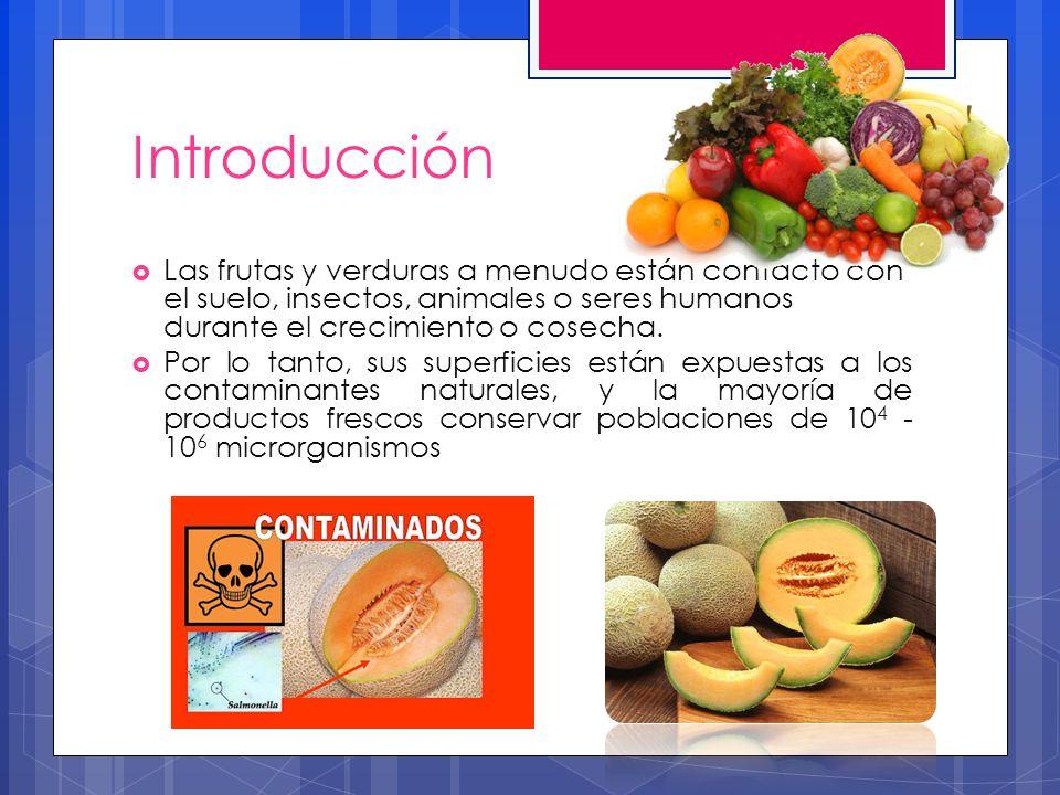 Introducción Las frutas y verduras a menudo están contacto con el suelo, insectos, animales o seres humanos durante el crecimiento o cosecha. Por lo t