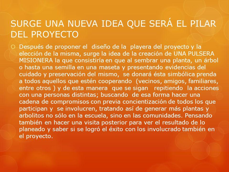 SURGE UNA NUEVA IDEA QUE SERÁ EL PILAR DEL PROYECTO Después de proponer el diseño de la playera del proyecto y la elección de la misma, surge la idea