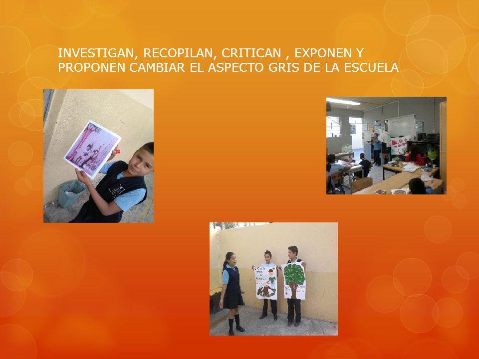 INVESTIGAN, RECOPILAN, CRITICAN, EXPONEN Y PROPONEN CAMBIAR EL ASPECTO GRIS DE LA ESCUELA