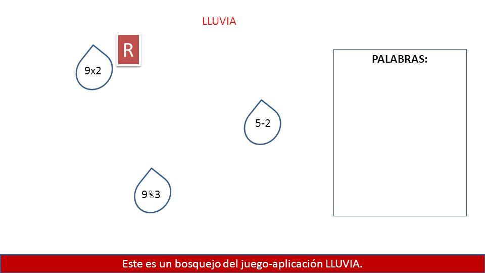 Este es un bosquejo del juego-aplicación LLUVIA. LLUVIA PALABRAS: 9x2 5-2 9%39%3 R R
