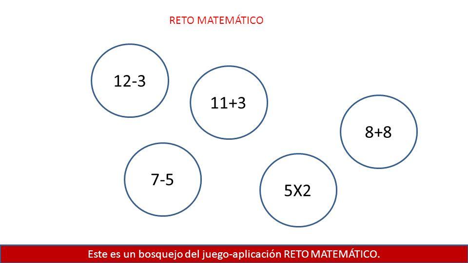 Este es un bosquejo del juego-aplicación RETO MATEMÁTICO. RETO MATEMÁTICO 12-3 11+3 8+8 5X2 7-5