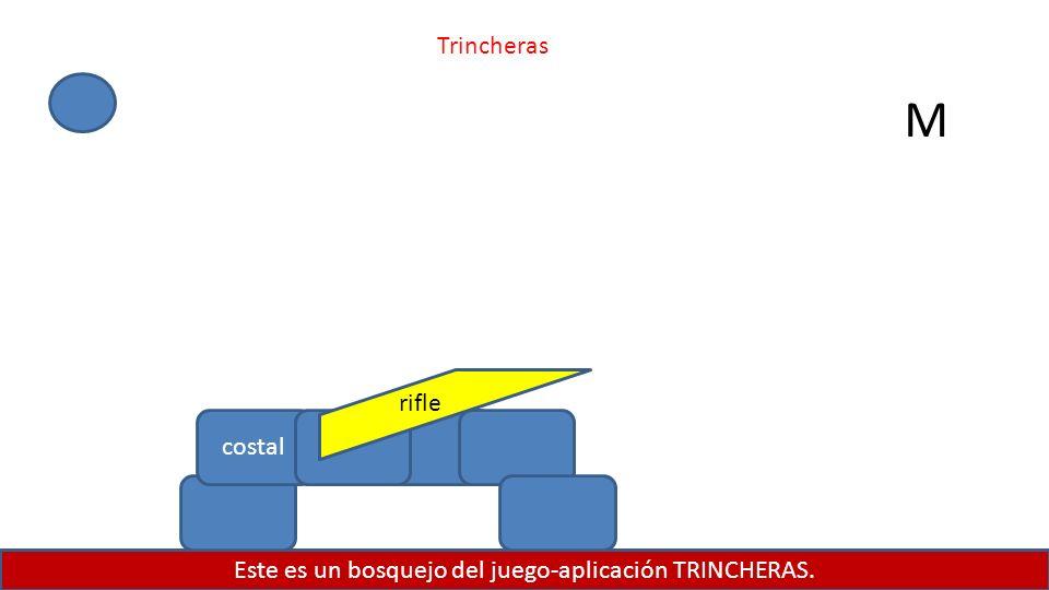 Este es un bosquejo del juego-aplicación TRINCHERAS. costal rifle M Trincheras