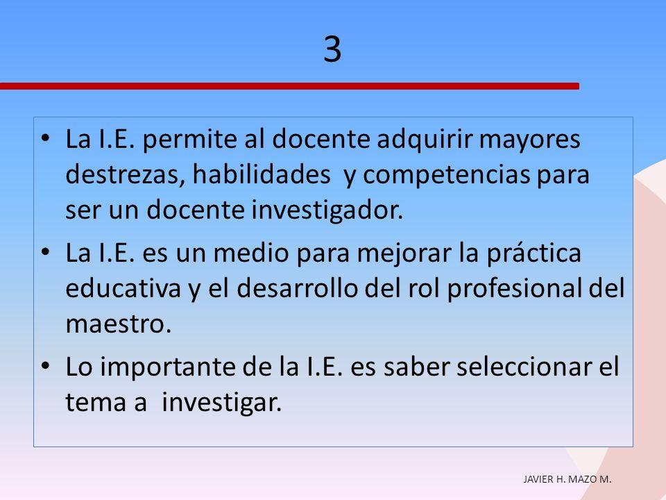 JAVIER H. MAZO M. 3 La I.E. permite al docente adquirir mayores destrezas, habilidades y competencias para ser un docente investigador. La I.E. es un