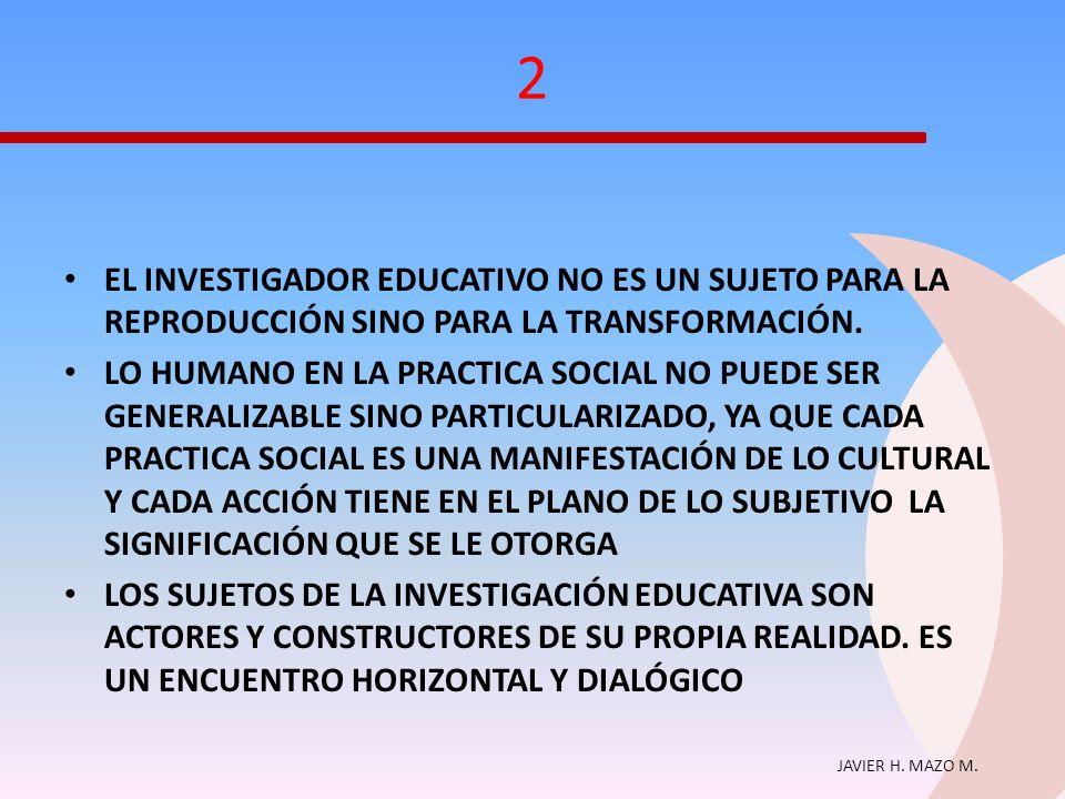 JAVIER H. MAZO M. 2 EL INVESTIGADOR EDUCATIVO NO ES UN SUJETO PARA LA REPRODUCCIÓN SINO PARA LA TRANSFORMACIÓN. LO HUMANO EN LA PRACTICA SOCIAL NO PUE