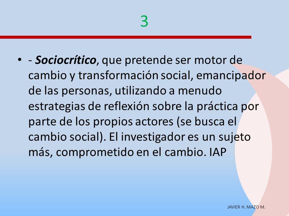 JAVIER H. MAZO M. 3 - Sociocrítico, que pretende ser motor de cambio y transformación social, emancipador de las personas, utilizando a menudo estrate