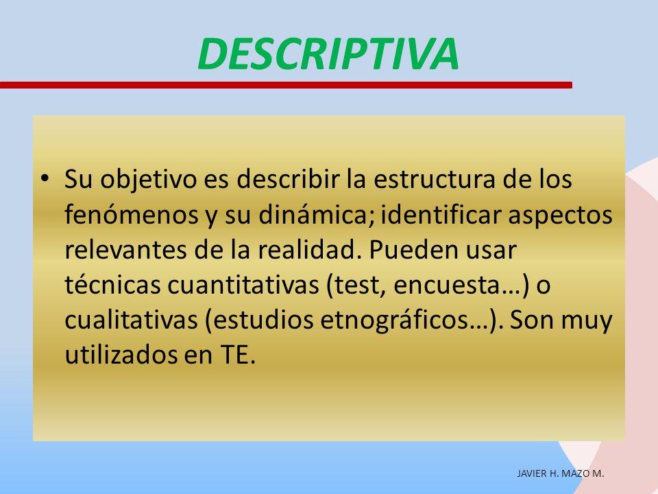 JAVIER H. MAZO M. DESCRIPTIVA Su objetivo es describir la estructura de los fenómenos y su dinámica; identificar aspectos relevantes de la realidad. P
