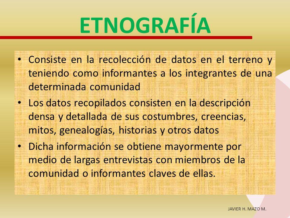 JAVIER H. MAZO M. ETNOGRAFÍA Consiste en la recolección de datos en el terreno y teniendo como informantes a los integrantes de una determinada comuni