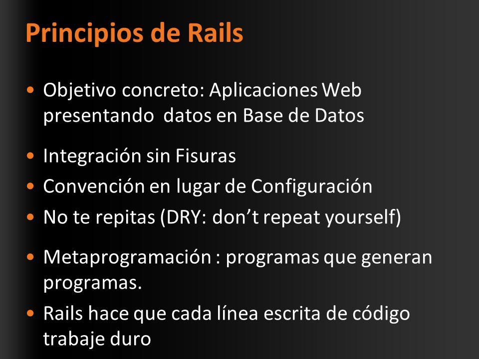 Principios de Rails Objetivo concreto: Aplicaciones Web presentando datos en Base de Datos Integración sin Fisuras Convención en lugar de Configuración No te repitas (DRY: dont repeat yourself) Metaprogramación : programas que generan programas.