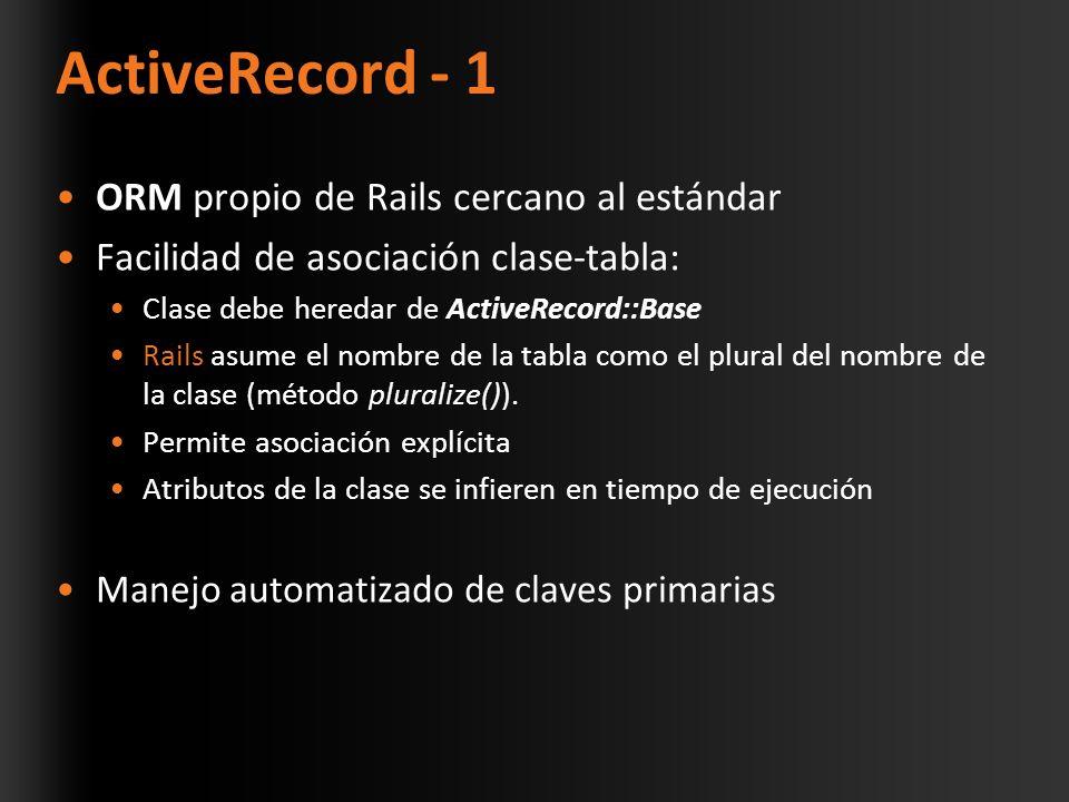 ActiveRecord - 1 ORM propio de Rails cercano al estándar Facilidad de asociación clase-tabla: Clase debe heredar de ActiveRecord::Base Rails asume el nombre de la tabla como el plural del nombre de la clase (método pluralize()).