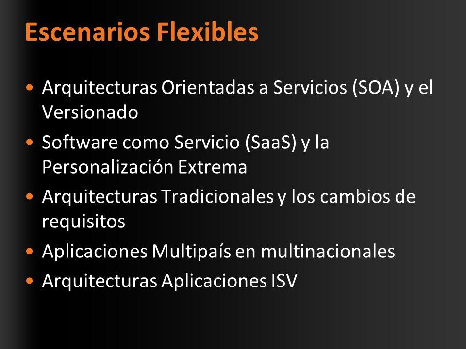 Escenarios Flexibles Arquitecturas Orientadas a Servicios (SOA) y el Versionado Software como Servicio (SaaS) y la Personalización Extrema Arquitecturas Tradicionales y los cambios de requisitos Aplicaciones Multipaís en multinacionales Arquitecturas Aplicaciones ISV
