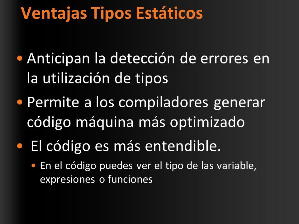 Ventajas Tipos Estáticos Anticipan la detección de errores en la utilización de tipos Permite a los compiladores generar código máquina más optimizado El código es más entendible.