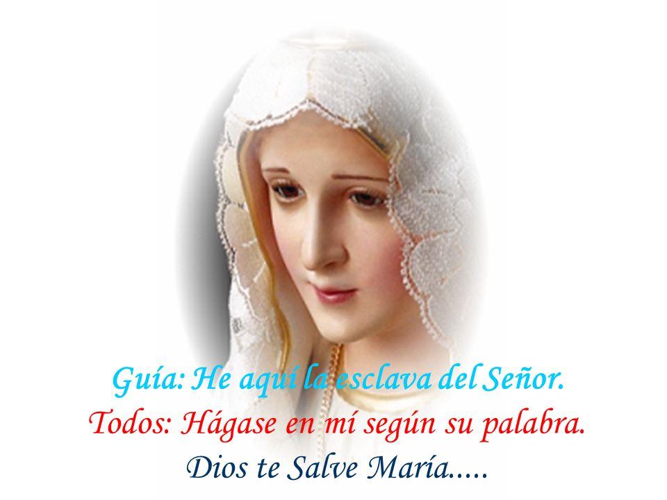 Guía: El ángel del Señor anunció a María. Todos: Y concibió por obra del Espíritu Santo. Dios te Salve María......