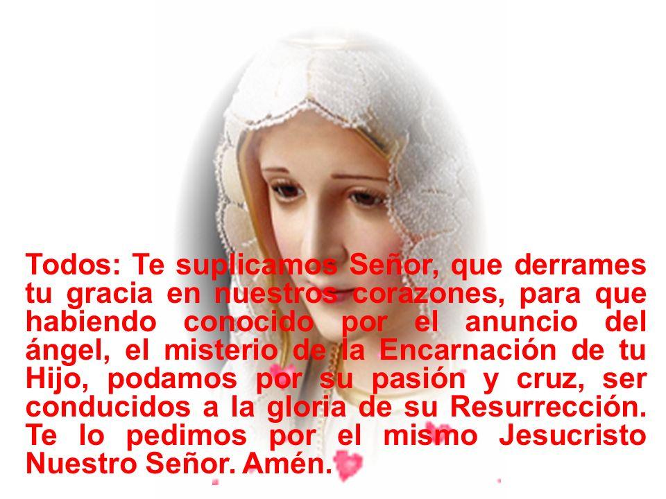 Guía: Ruega por nosotros Santa Madre de Dios. Todos: Para que seamos dignos de alcanzar las promesas de nuestro Señor Jesucristo Amén.