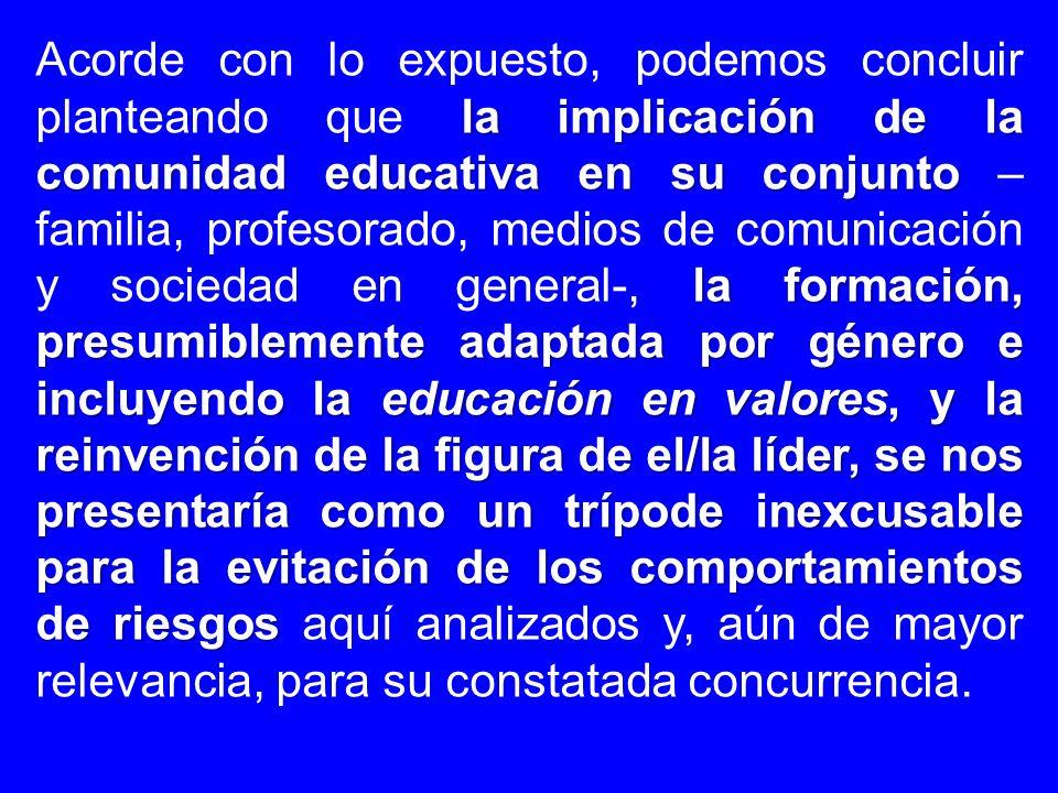 la implicación de la comunidad educativa en su conjunto la formación, presumiblemente adaptada por género e incluyendo la educación en valores, y la r
