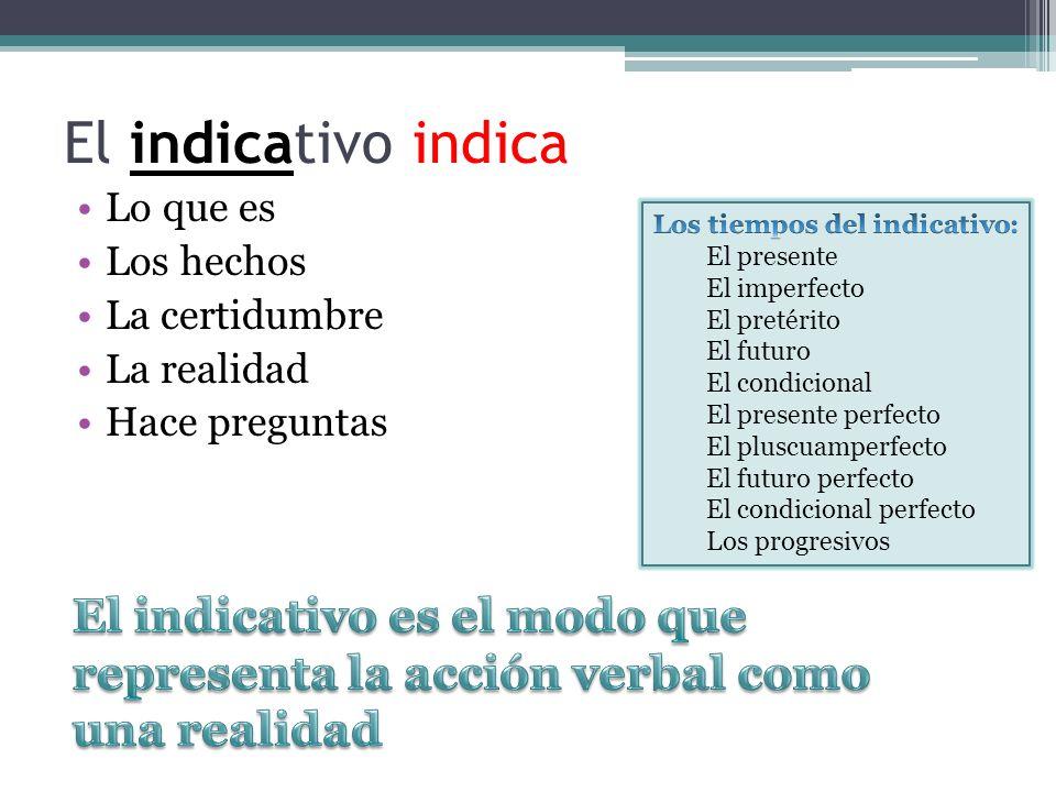Moods: IndicativeSubjunctive Tenses: el presenteel presente el imperfectoel imperfecto el pretérito el futuro el condicional el presente perfectoel pr