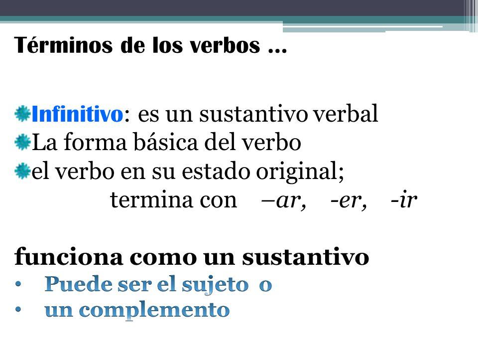 Términos de los verbos …