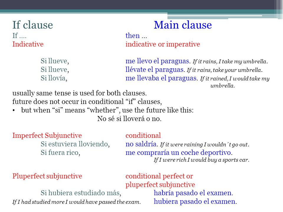 Sequence of tenses in if clauses: if then… Indicative Imperfect subjunctive Pluscuamperfecto subjuntivo Indicative or imperative Conditional Condition