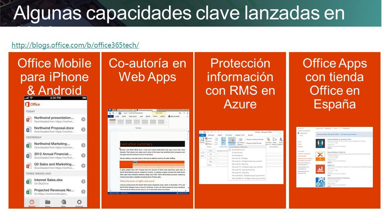 Algunas capacidades clave lanzadas en 2013 http://blogs.office.com/b/office365tech/