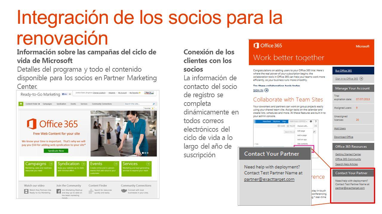 Información sobre las campañas del ciclo de vida de Microsoft Detalles del programa y todo el contenido disponible para los socios en Partner Marketing Center.