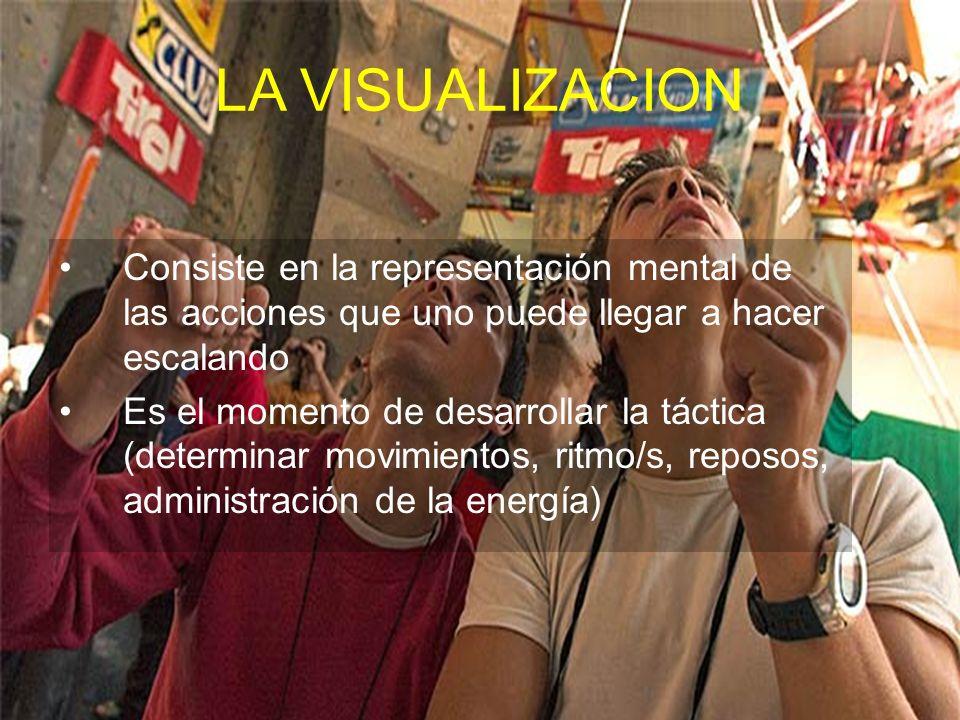 LA VISUALIZACION Consiste en la representación mental de las acciones que uno puede llegar a hacer escalando Es el momento de desarrollar la táctica (determinar movimientos, ritmo/s, reposos, administración de la energía)