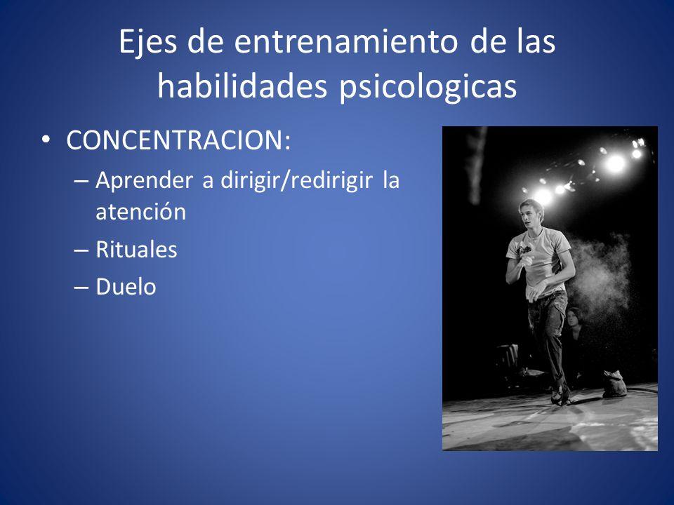 CONCENTRACION: – Aprender a dirigir/redirigir la atención – Rituales – Duelo Ejes de entrenamiento de las habilidades psicologicas