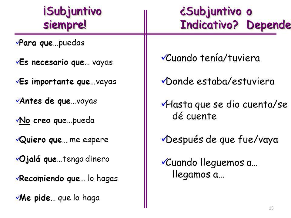 15 ¡Subjuntivosiempre!¡Subjuntivosiempre! ¿Subjuntivo o Indicativo? Depende ¿Subjuntivo o Indicativo? Depende Para que…puedas Es necesario que… vayas