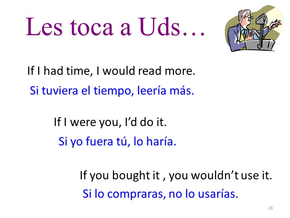 28 Les toca a Uds… If I had time, I would read more. If I were you, Id do it. If you bought it, you wouldnt use it. Si tuviera el tiempo, leería más.