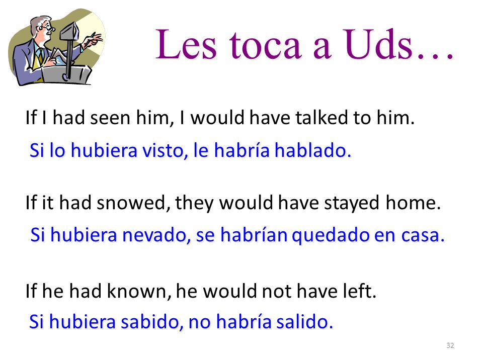 32 Les toca a Uds… If I had seen him, I would have talked to him. If it had snowed, they would have stayed home. If he had known, he would not have le