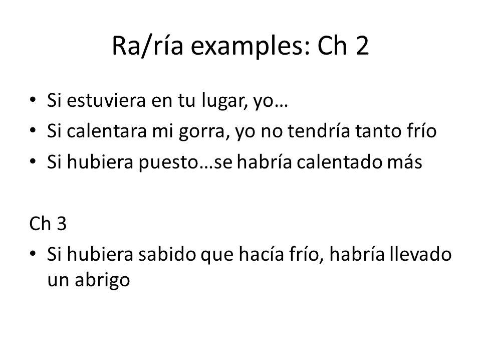 Ra/ría examples: Ch 2 Si estuviera en tu lugar, yo… Si calentara mi gorra, yo no tendría tanto frío Si hubiera puesto…se habría calentado más Ch 3 Si