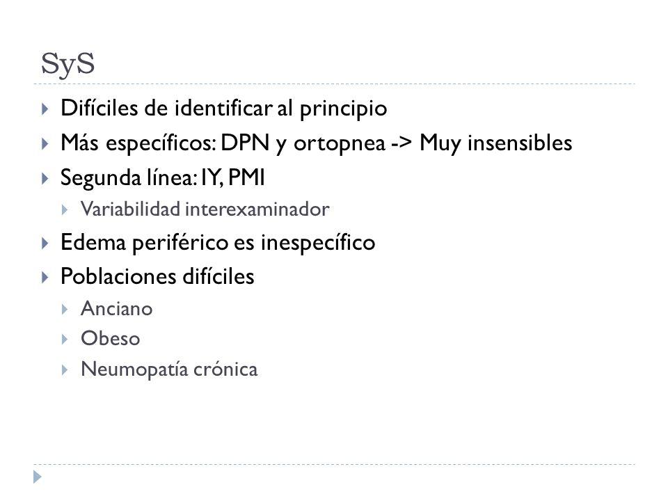 SyS Difíciles de identificar al principio Más específicos: DPN y ortopnea -> Muy insensibles Segunda línea: IY, PMI Variabilidad interexaminador Edema