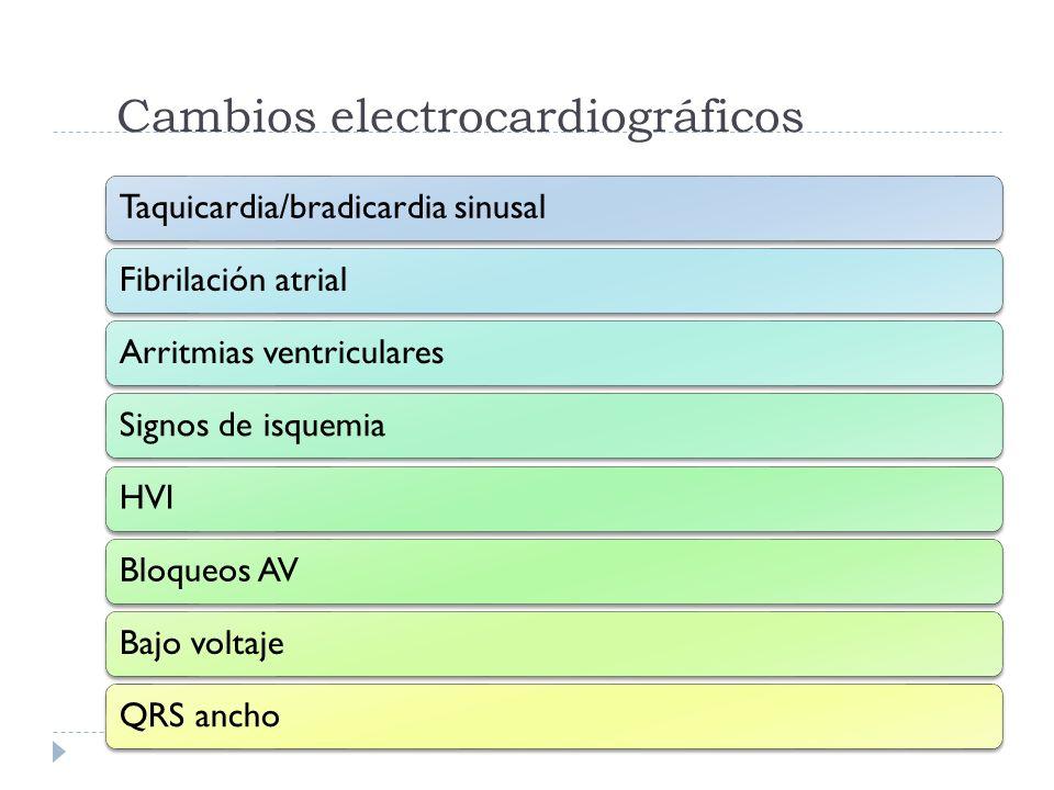 Cambios electrocardiográficos Taquicardia/bradicardia sinusalFibrilación atrialArritmias ventricularesSignos de isquemiaHVIBloqueos AVBajo voltajeQRS