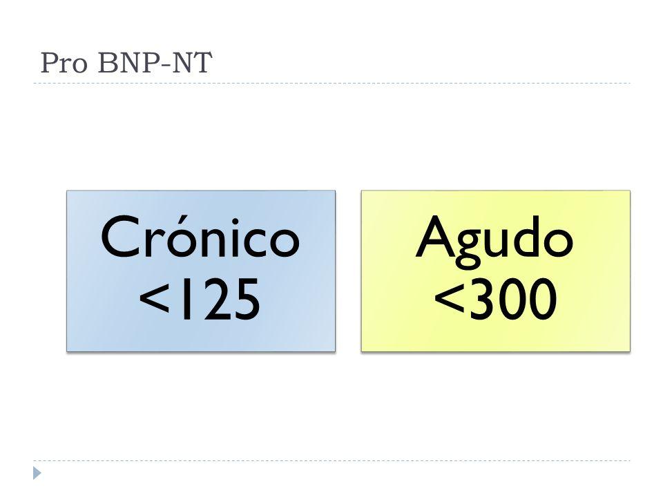 Pro BNP-NT Crónico <125 Agudo <300