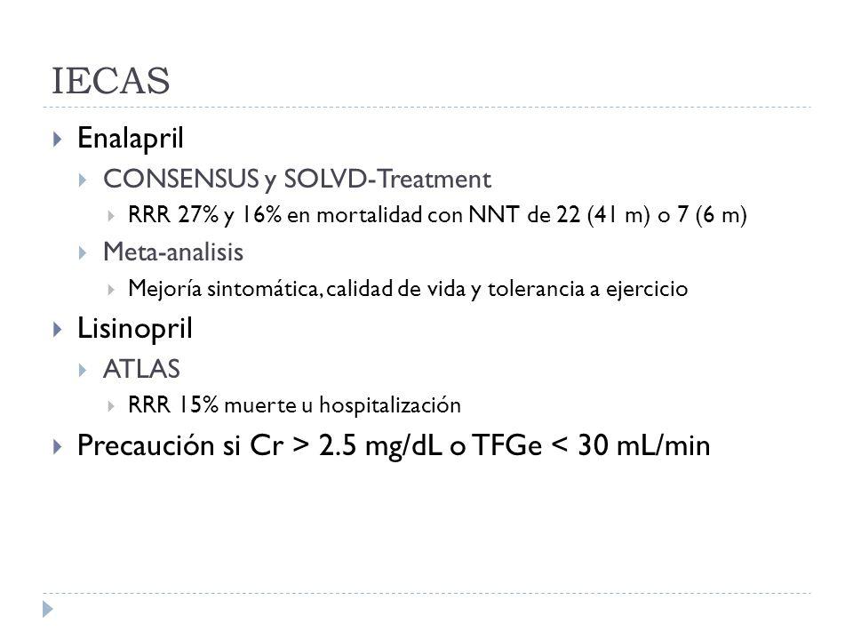 IECAS Enalapril CONSENSUS y SOLVD-Treatment RRR 27% y 16% en mortalidad con NNT de 22 (41 m) o 7 (6 m) Meta-analisis Mejoría sintomática, calidad de v