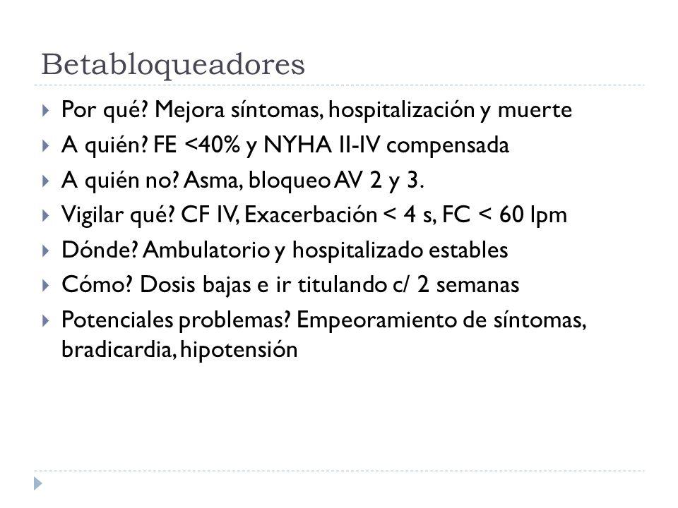 Betabloqueadores Por qué? Mejora síntomas, hospitalización y muerte A quién? FE <40% y NYHA II-IV compensada A quién no? Asma, bloqueo AV 2 y 3. Vigil