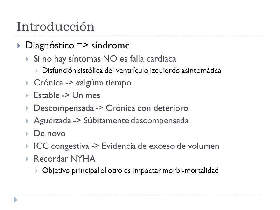 Bloqueadores aldosterona Estudios RALES (espironolactona), EMPHASIS-HF y EPHESUS (eplerenona) Todos asociados a IECA/ARA-II, FE < 35% y CF III-IV RRR 30-37% mortalidad y 35% hospitalización a los 2 años NNT 9-13 (RRA 11%)