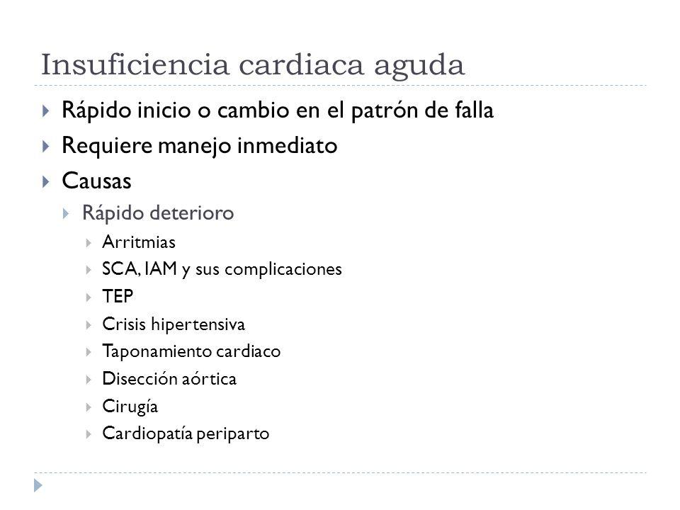 Insuficiencia cardiaca aguda Rápido inicio o cambio en el patrón de falla Requiere manejo inmediato Causas Rápido deterioro Arritmias SCA, IAM y sus c