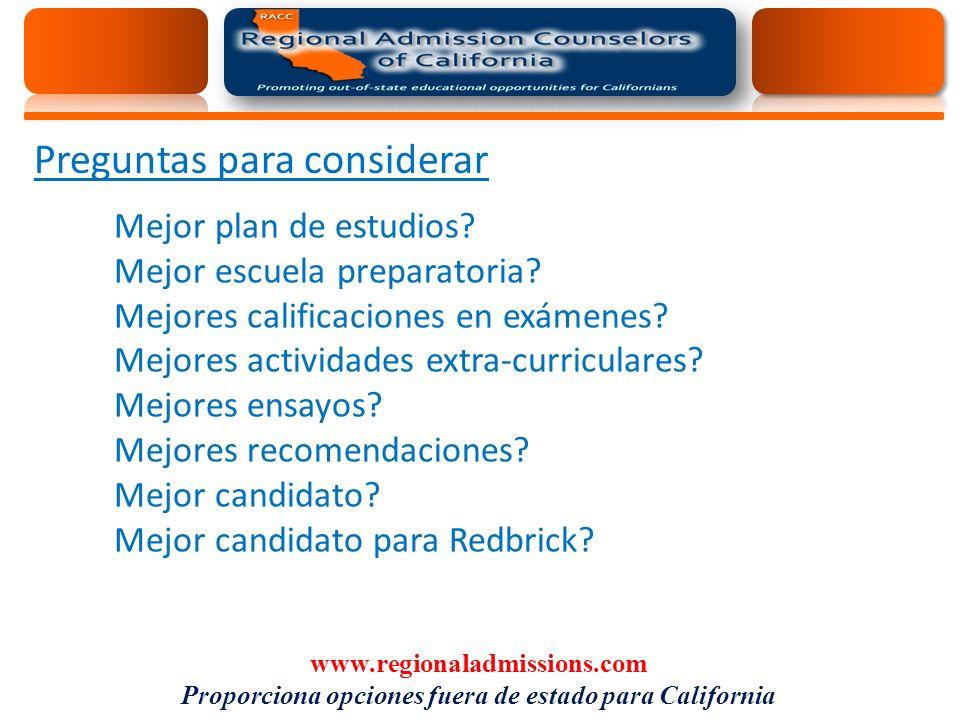 Preguntas para considerar Mejor plan de estudios. Mejor escuela preparatoria.