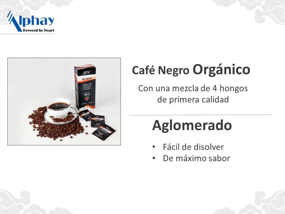 Con una mezcla de 4 hongos de primera calidad Café Negro Orgánico Aglomerado Fácil de disolver De máximo sabor