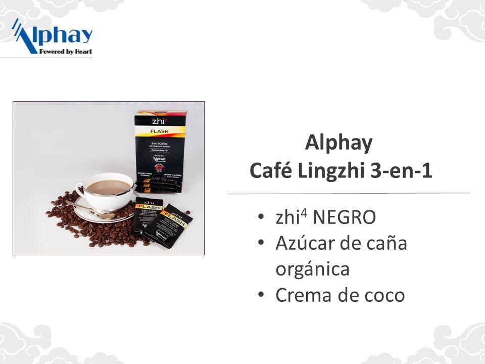 zhi 4 NEGRO Azúcar de caña orgánica Crema de coco Alphay Café Lingzhi 3-en-1