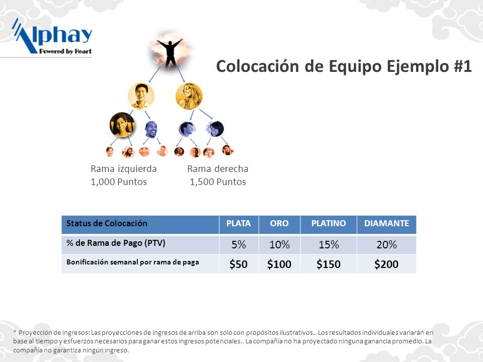 Colocación de Equipo Ejemplo #1 * Proyección de ingresos: Las proyecciones de ingresos de arriba son sólo con propósitos ilustrativos.. Los resultados