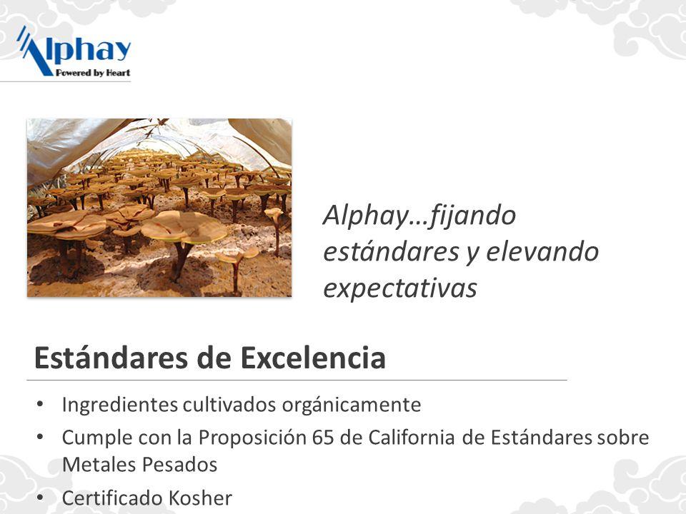 Alphay…fijando estándares y elevando expectativas Estándares de Excelencia Ingredientes cultivados orgánicamente Cumple con la Proposición 65 de California de Estándares sobre Metales Pesados Certificado Kosher