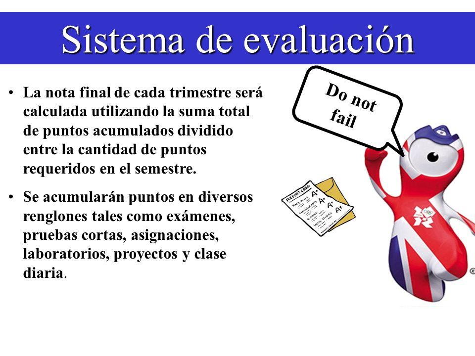 Sistema de evaluación Exámenes: 2 a 3 exámenes escritos o en máquina por trimestre (100% cada uno) Pruebas Cortas: varias de 10 a 25 puntos cada una Do not fail