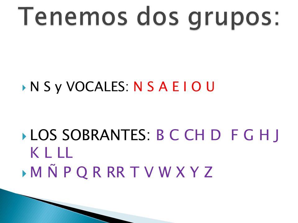 N S y VOCALES: N S A E I O U LOS SOBRANTES: B C CH D F G H J K L LL M Ñ P Q R RR T V W X Y Z
