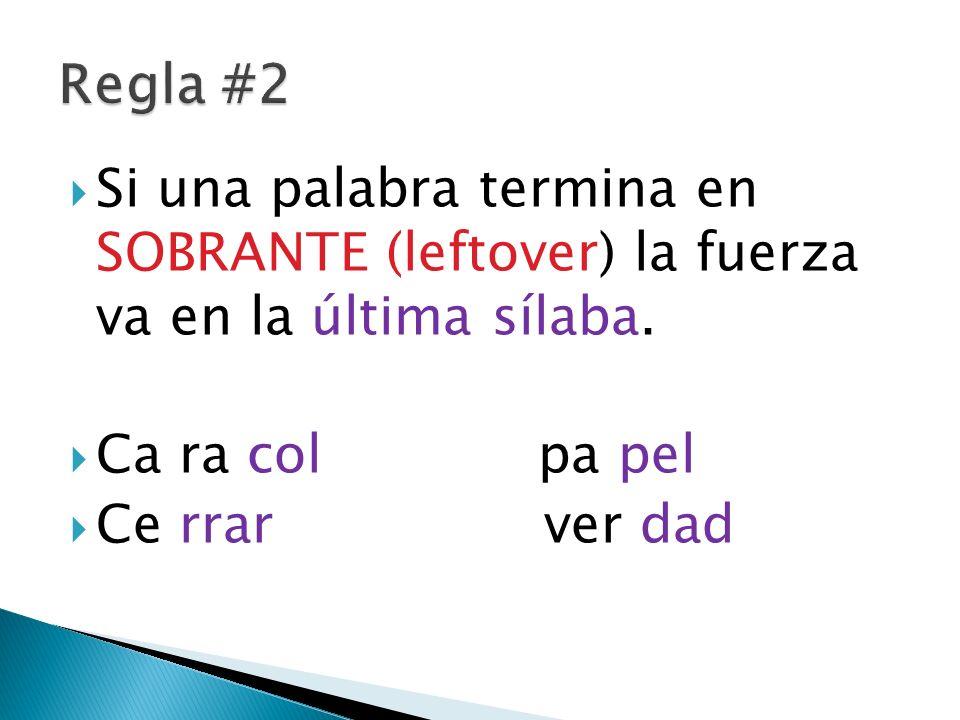 Si una palabra termina en SOBRANTE (leftover) la fuerza va en la última sílaba. Ca ra colpa pel Ce rrar ver dad