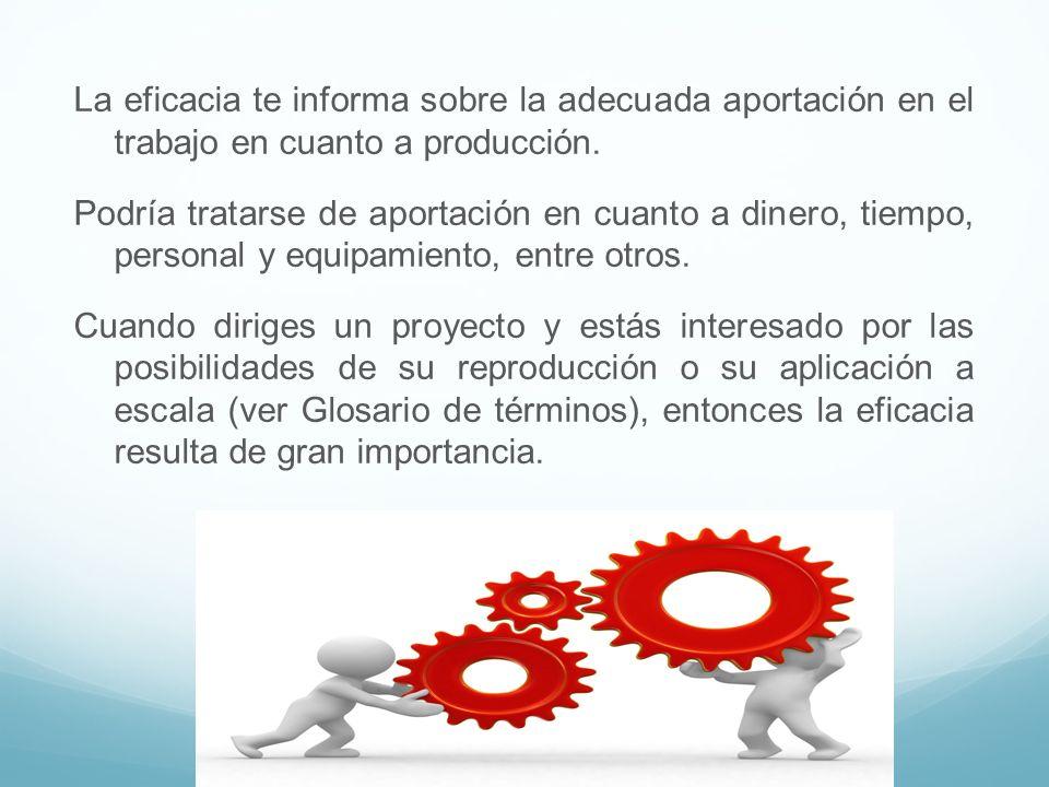 La eficacia te informa sobre la adecuada aportación en el trabajo en cuanto a producción. Podría tratarse de aportación en cuanto a dinero, tiempo, pe
