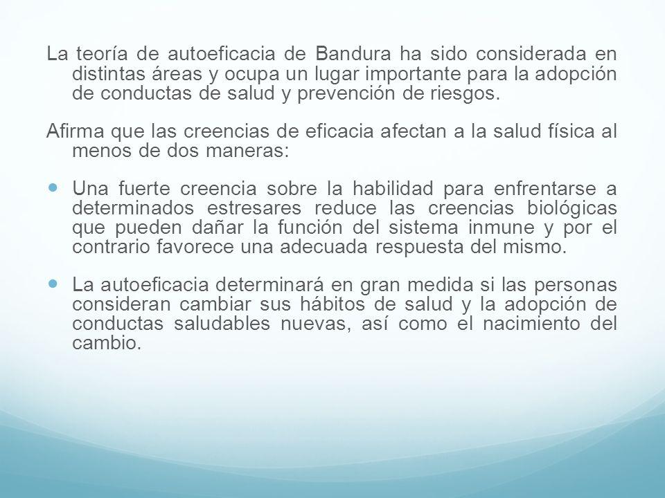 La teoría de autoeficacia de Bandura ha sido considerada en distintas áreas y ocupa un lugar importante para la adopción de conductas de salud y preve